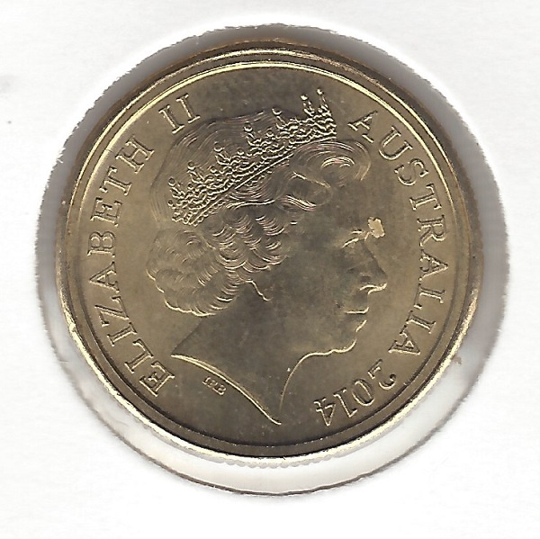 Obverse of 2014 ANZAC Dollar Mule