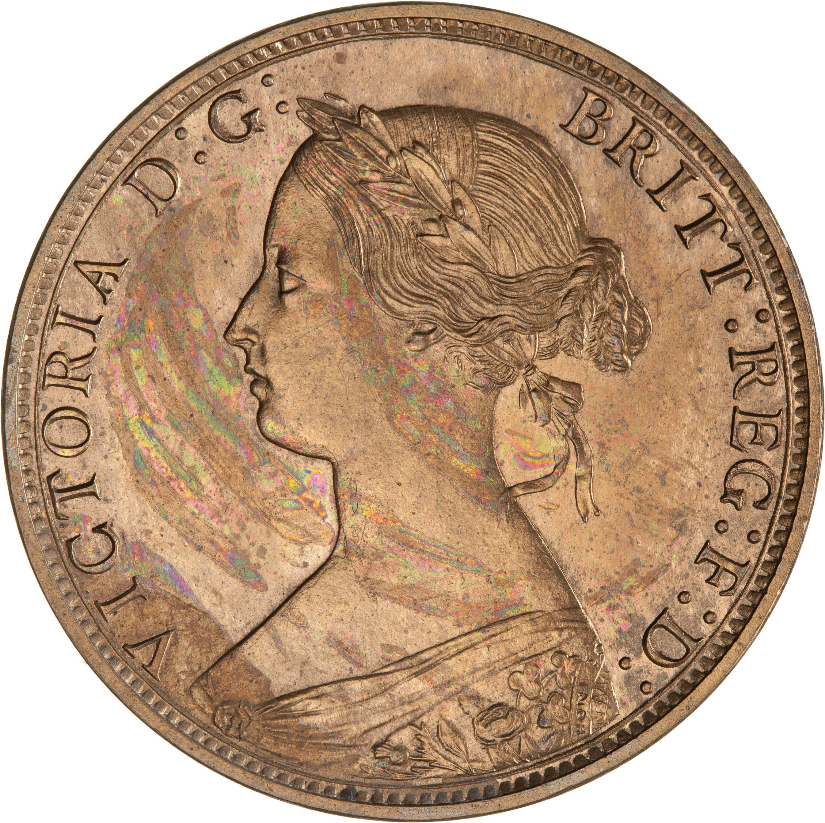 Obverse of 1861 New Brunswick One Cent Proof