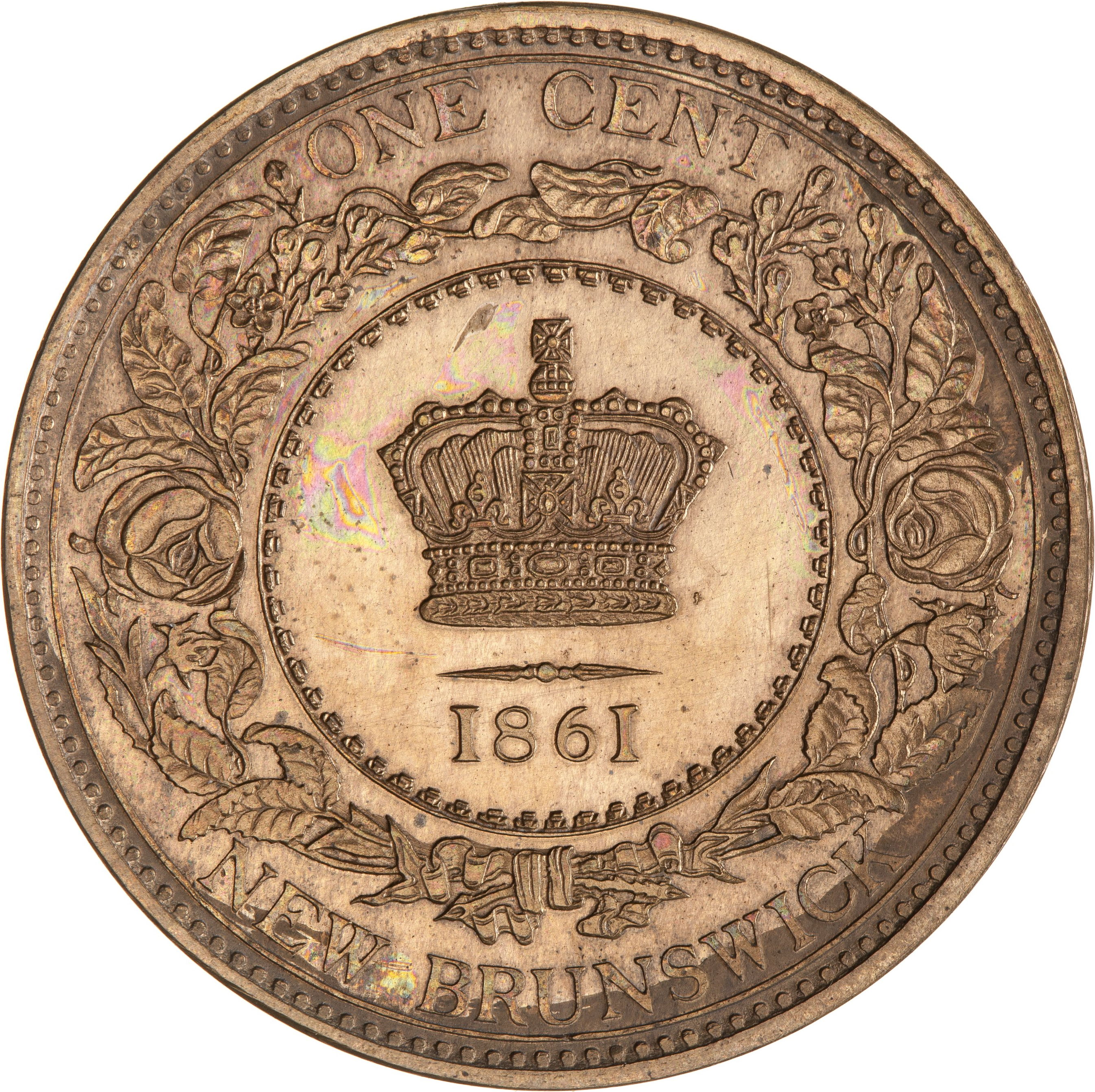 Reverse of 1861 New Brunswick One Cent Proof
