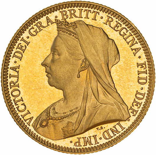 Type 1 Veiled Head Sovereign Obverse
