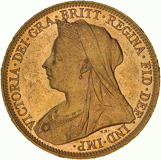 Type 2 Veiled Head Sovereign Obverse
